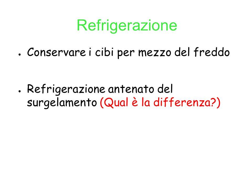 Refrigerazione Conservare i cibi per mezzo del freddo Refrigerazione antenato del surgelamento (Qual è la differenza?)