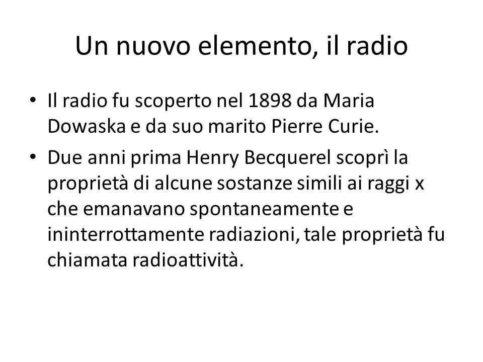 Un nuovo elemento, il radio Il radio fu scoperto nel 1898 da Maria Dowaska e da suo marito Pierre Curie. Due anni prima Henry Becquerel scoprì la prop