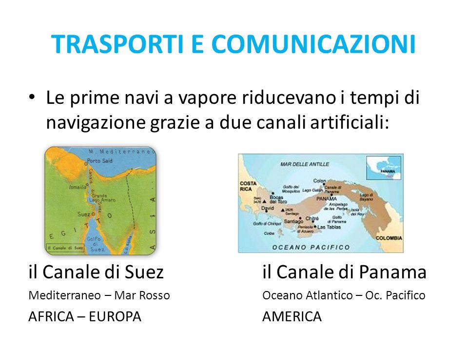 Le prime navi a vapore riducevano i tempi di navigazione grazie a due canali artificiali: il Canale di Suezil Canale di Panama Mediterraneo – Mar RossoOceano Atlantico – Oc.