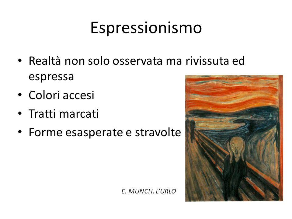Espressionismo Realtà non solo osservata ma rivissuta ed espressa Colori accesi Tratti marcati Forme esasperate e stravolte E. MUNCH, LURLO