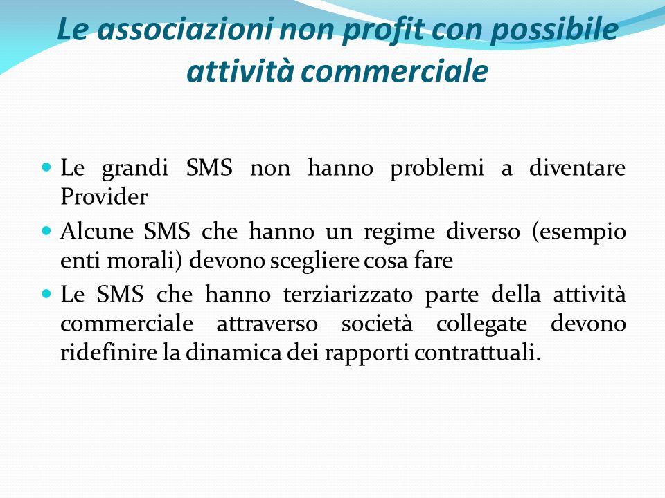 Le associazioni non profit con possibile attività commerciale Le grandi SMS non hanno problemi a diventare Provider Alcune SMS che hanno un regime div