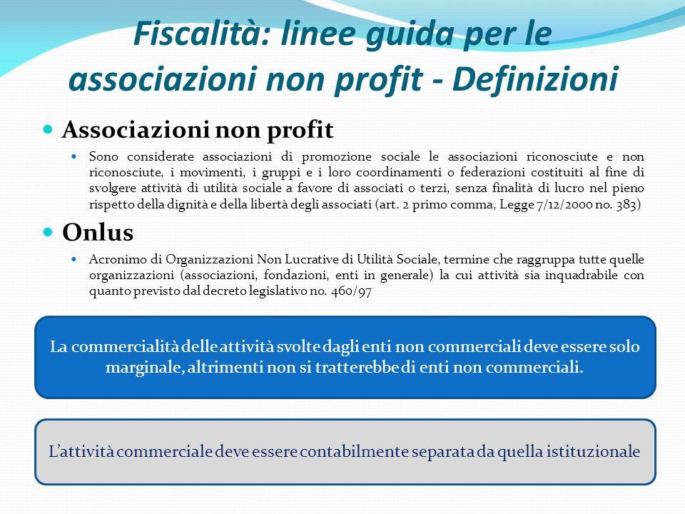 Fiscalità: linee guida per le associazioni non profit - Definizioni Associazioni non profit Sono considerate associazioni di promozione sociale le ass
