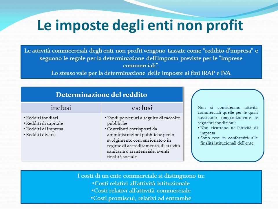 Le imposte degli enti non profit Le attività commcerciali degli enti non profit vengono tassate come reddito dimpresa e seguono le regole per la deter