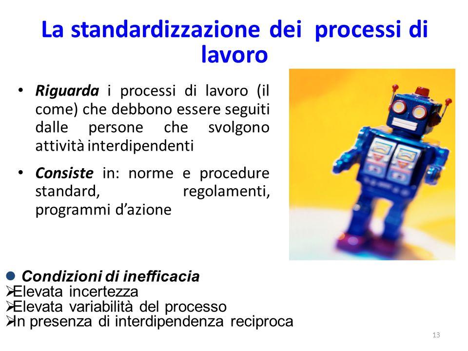 13 La standardizzazione dei processi di lavoro Riguarda i processi di lavoro (il come) che debbono essere seguiti dalle persone che svolgono attività