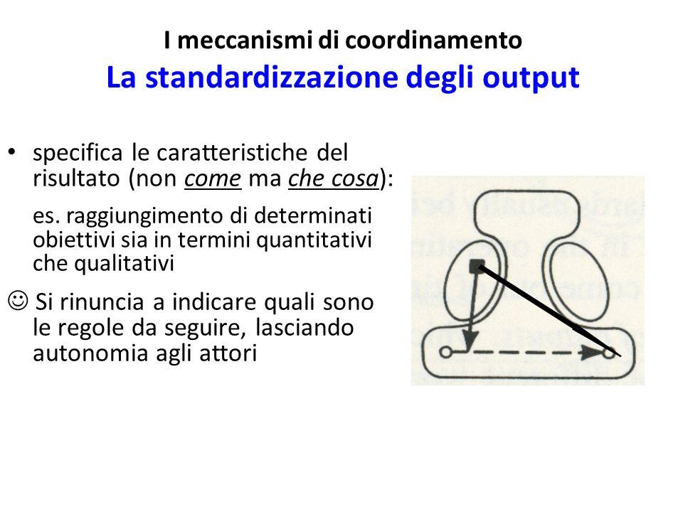 I meccanismi di coordinamento La standardizzazione degli output specifica le caratteristiche del risultato (non come ma che cosa): es. raggiungimento