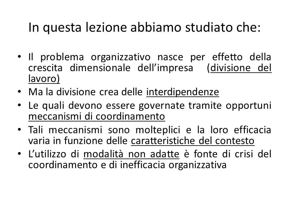In questa lezione abbiamo studiato che: Il problema organizzativo nasce per effetto della crescita dimensionale dellimpresa (divisione del lavoro) Ma