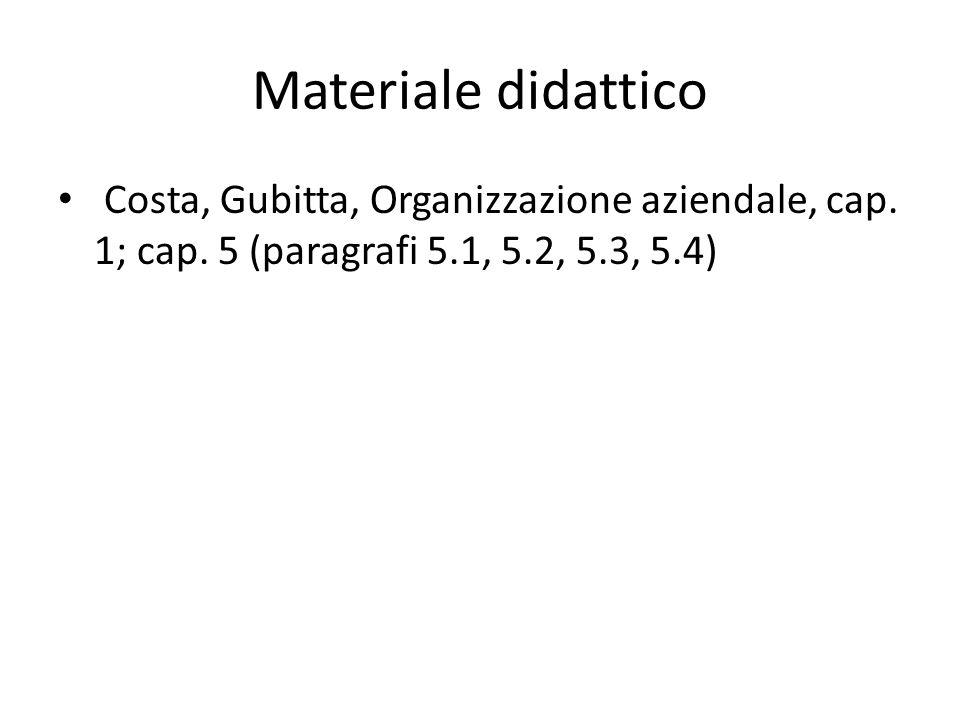 Materiale didattico Costa, Gubitta, Organizzazione aziendale, cap. 1; cap. 5 (paragrafi 5.1, 5.2, 5.3, 5.4)