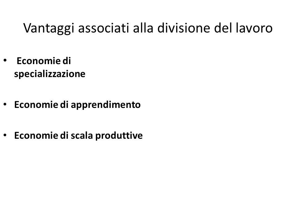 Vantaggi associati alla divisione del lavoro Economie di specializzazione Economie di apprendimento Economie di scala produttive
