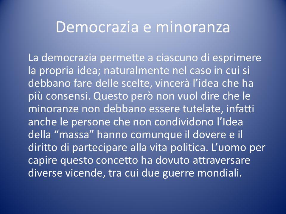Democrazia e minoranza La democrazia permette a ciascuno di esprimere la propria idea; naturalmente nel caso in cui si debbano fare delle scelte, vinc