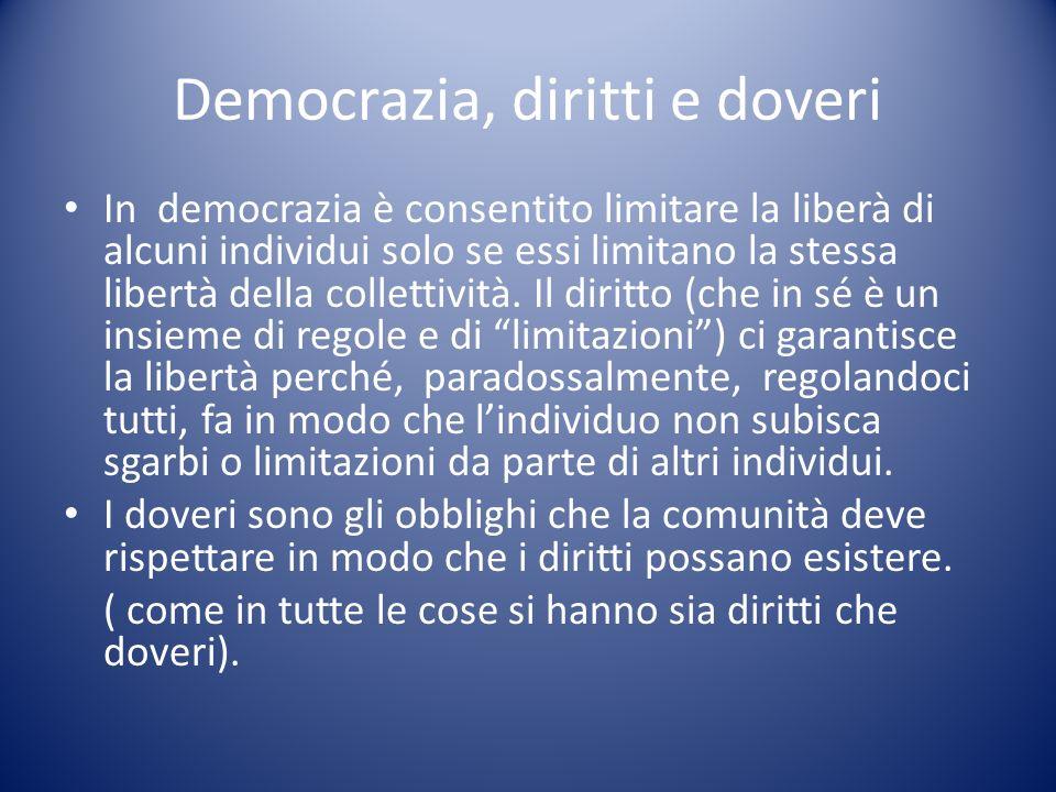 Democrazia, diritti e doveri In democrazia è consentito limitare la liberà di alcuni individui solo se essi limitano la stessa libertà della collettiv