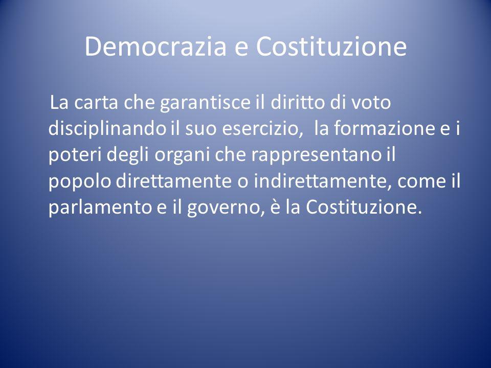 Democrazia e Costituzione La carta che garantisce il diritto di voto disciplinando il suo esercizio, la formazione e i poteri degli organi che rappres