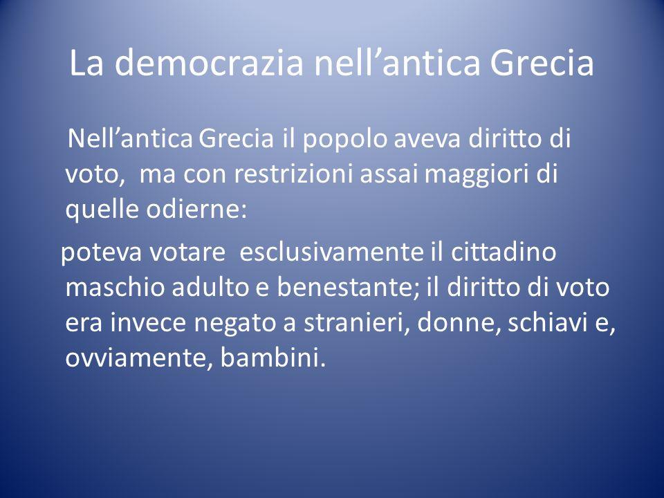 La democrazia nellantica Grecia Nellantica Grecia il popolo aveva diritto di voto, ma con restrizioni assai maggiori di quelle odierne: poteva votare