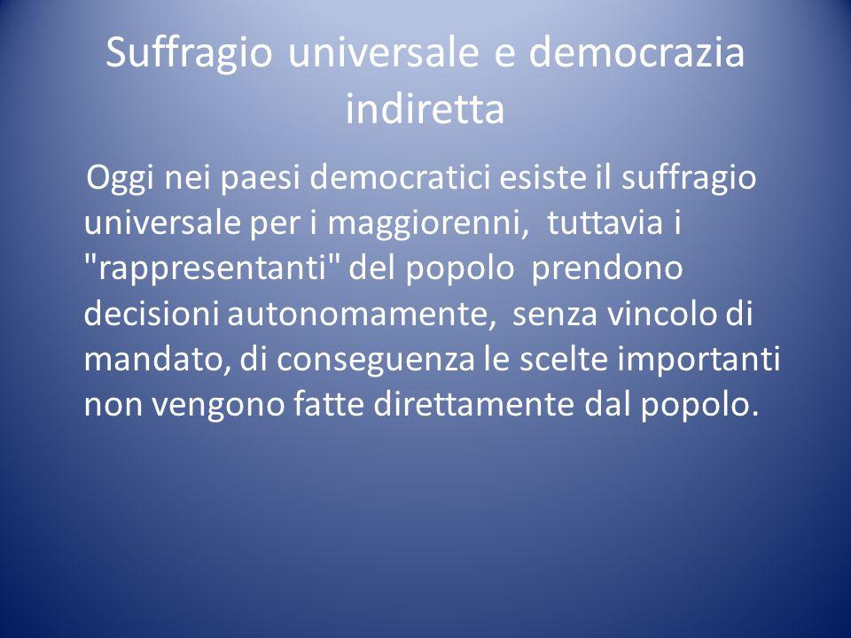 Suffragio universale e democrazia indiretta Oggi nei paesi democratici esiste il suffragio universale per i maggiorenni, tuttavia i