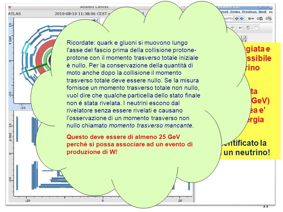 11 La linea retta tratteggiata e in rosso indica la possibile presenza di un neutrino nellevento… …associata ad una alta energia mancante (30GeV) (lo