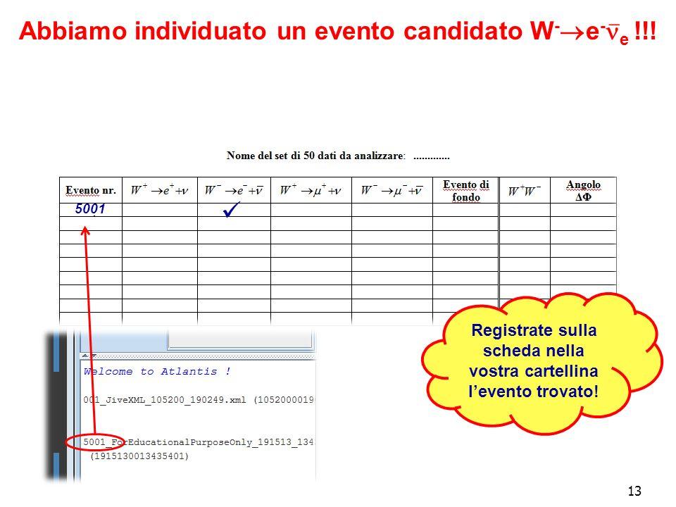 13 Abbiamo individuato un evento candidato W - e - e !!.