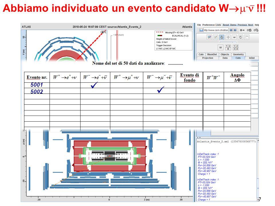 17 Abbiamo individuato un evento candidato W - !!! 5001 5002