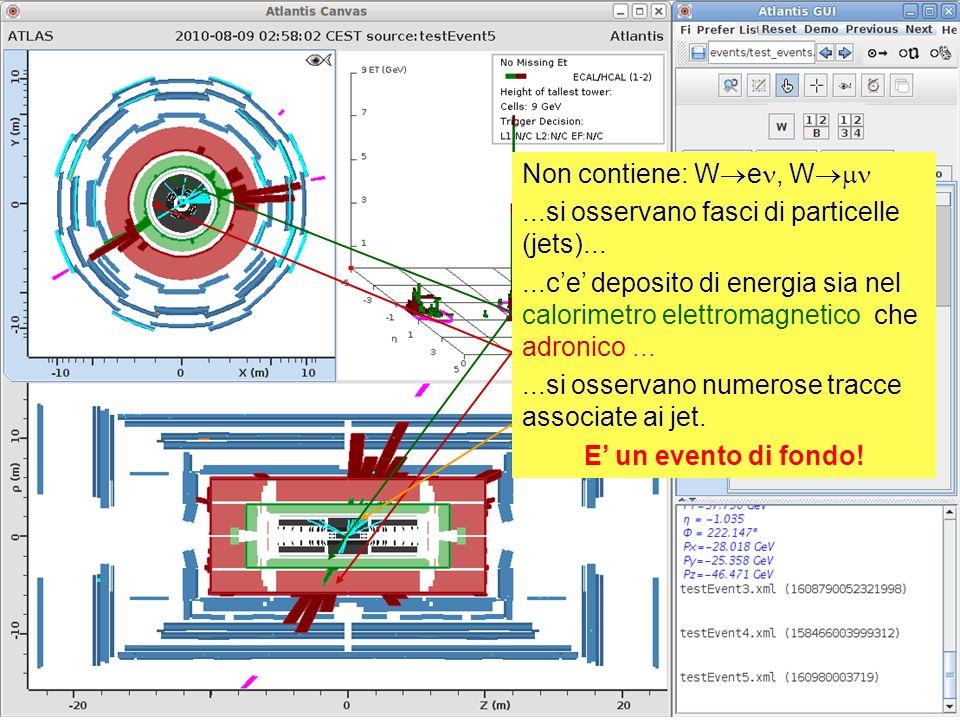 19 Non contiene: W e, W...si osservano fasci di particelle (jets)......ce deposito di energia sia nel calorimetro elettromagnetico che adronico......si osservano numerose tracce associate ai jet.