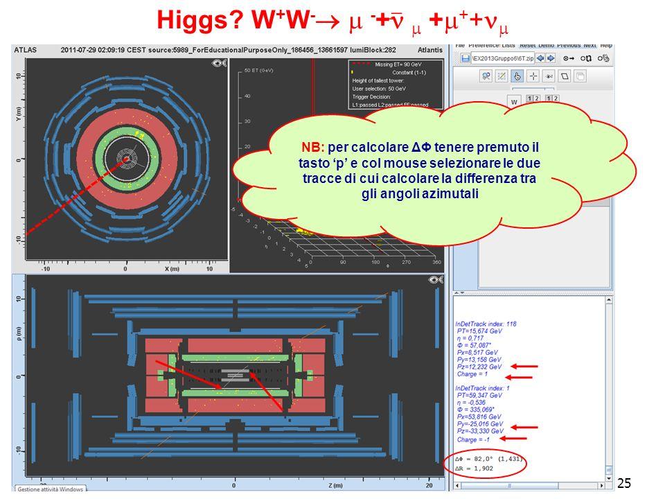 25 Higgs? W + W - - + + + + NB: per calcolare ΔΦ tenere premuto il tasto p e col mouse selezionare le due tracce di cui calcolare la differenza tra gl