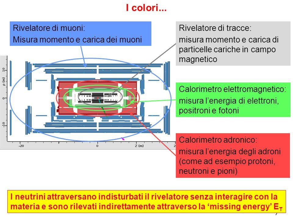 7 Rivelatore di tracce: misura momento e carica di particelle cariche in campo magnetico Calorimetro elettromagnetico: misura lenergia di elettroni, p