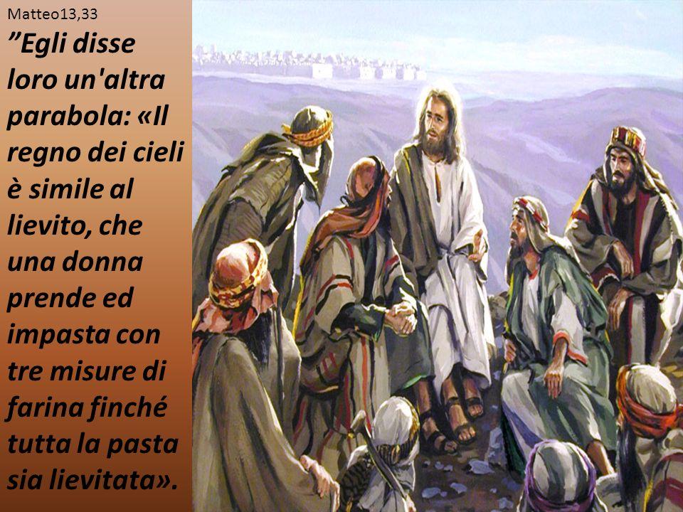 Matteo13,33 Egli disse loro un'altra parabola: «Il regno dei cieli è simile al lievito, che una donna prende ed impasta con tre misure di farina finch