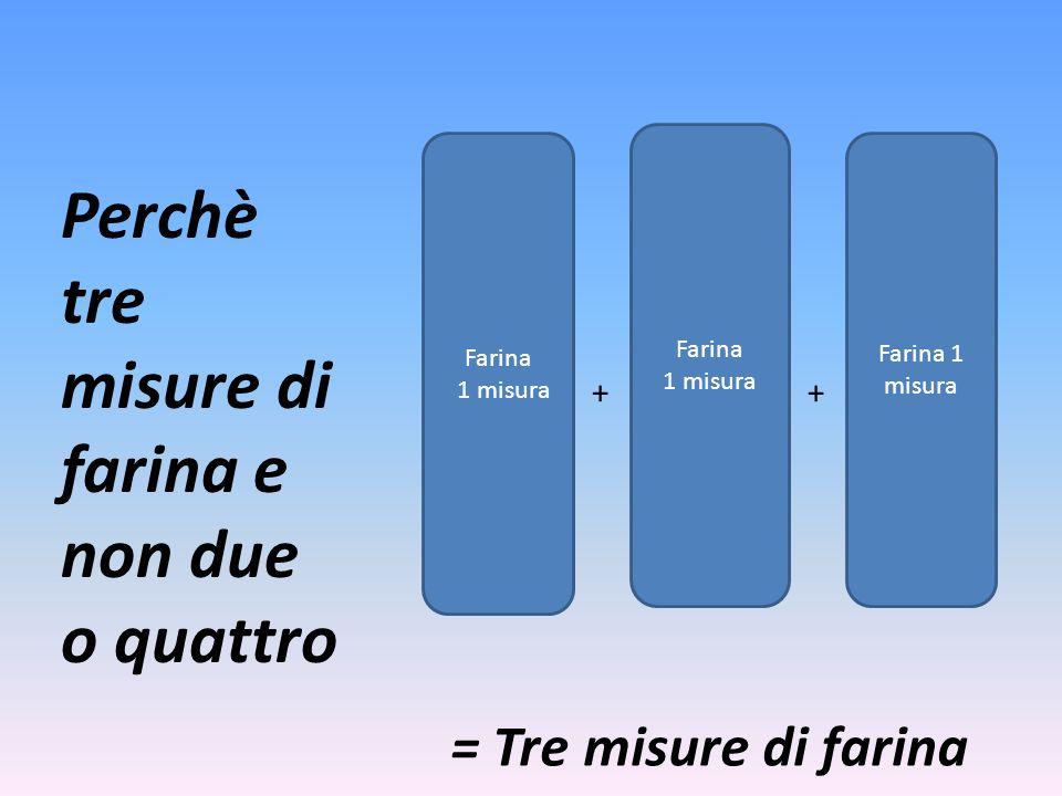 Farina 1 misura Farina 1 misura Farina 1 misura Perchè tre misure di farina e non due o quattro ++ = Tre misure di farina