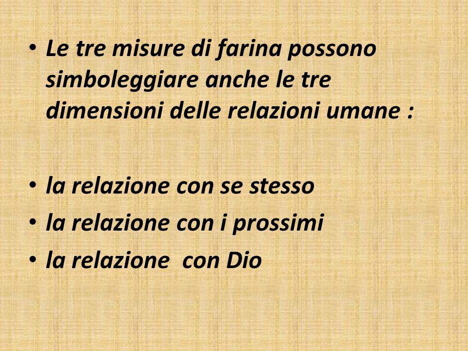Le tre misure di farina possono simboleggiare anche le tre dimensioni delle relazioni umane : la relazione con se stesso la relazione con i prossimi l