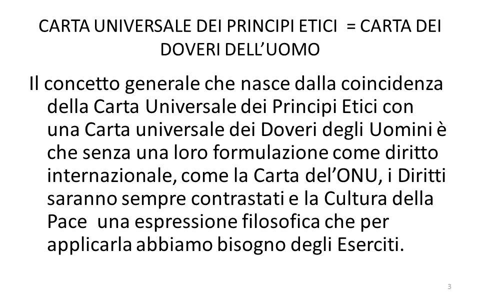 CARTA UNIVERSALE DEI PRINCIPI ETICI = CARTA DEI DOVERI DELLUOMO Il concetto generale che nasce dalla coincidenza della Carta Universale dei Principi E