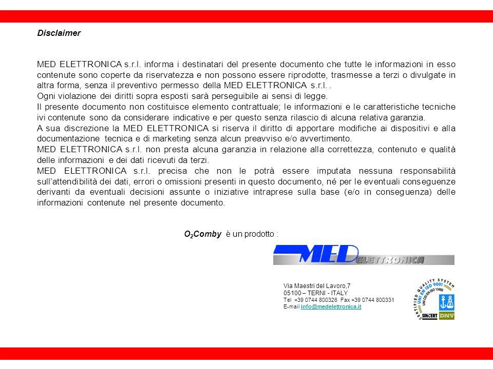 Disclaimer MED ELETTRONICA s.r.l. informa i destinatari del presente documento che tutte le informazioni in esso contenute sono coperte da riservatezz
