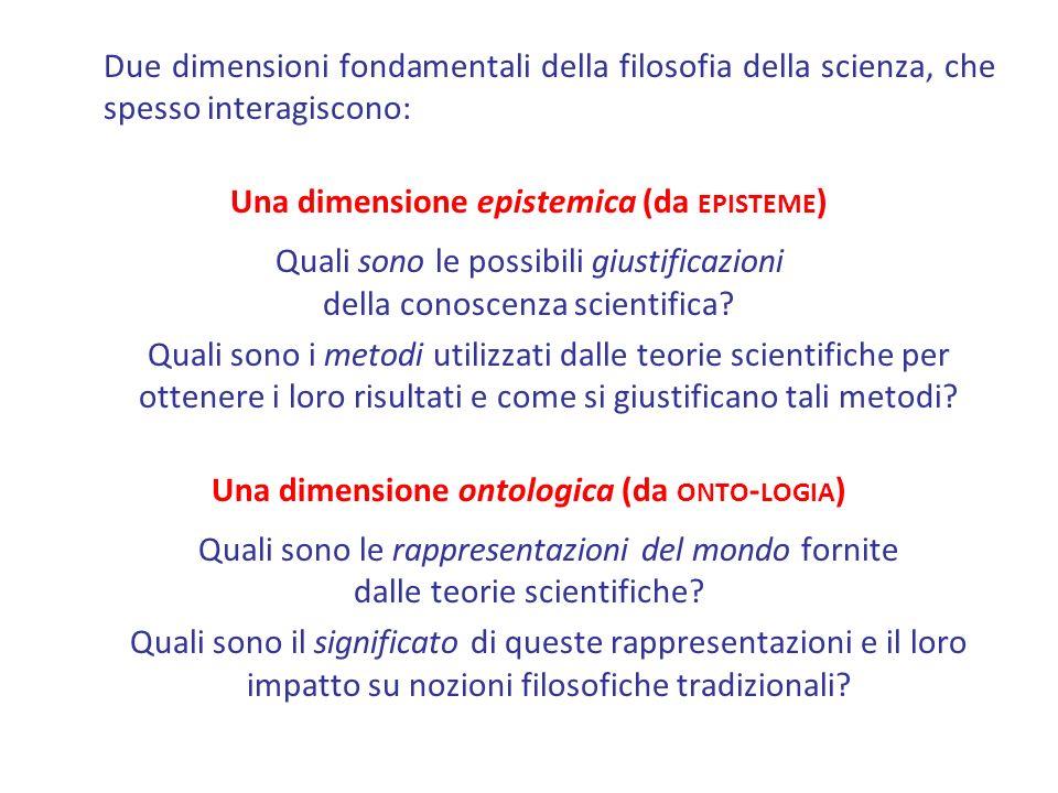 Due dimensioni fondamentali della filosofia della scienza, che spesso interagiscono: Una dimensione epistemica (da EPISTEME ) Quali sono le possibili giustificazioni della conoscenza scientifica.