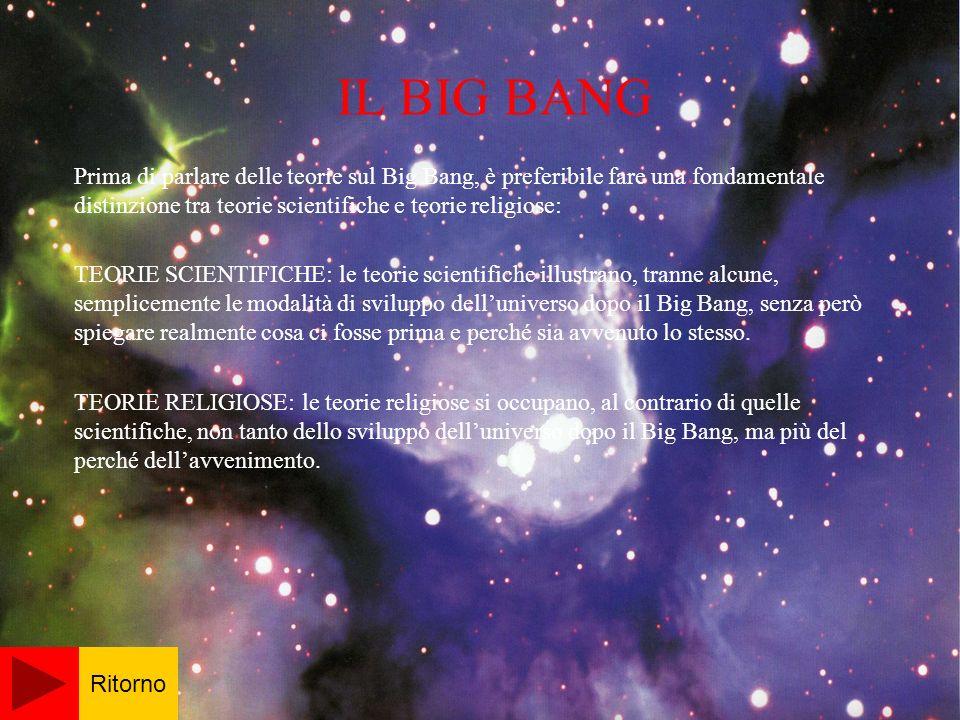 IL BIG BANG Prima di parlare delle teorie sul Big Bang, è preferibile fare una fondamentale distinzione tra teorie scientifiche e teorie religiose: TEORIE SCIENTIFICHE: le teorie scientifiche illustrano, tranne alcune, semplicemente le modalità di sviluppo delluniverso dopo il Big Bang, senza però spiegare realmente cosa ci fosse prima e perché sia avvenuto lo stesso.