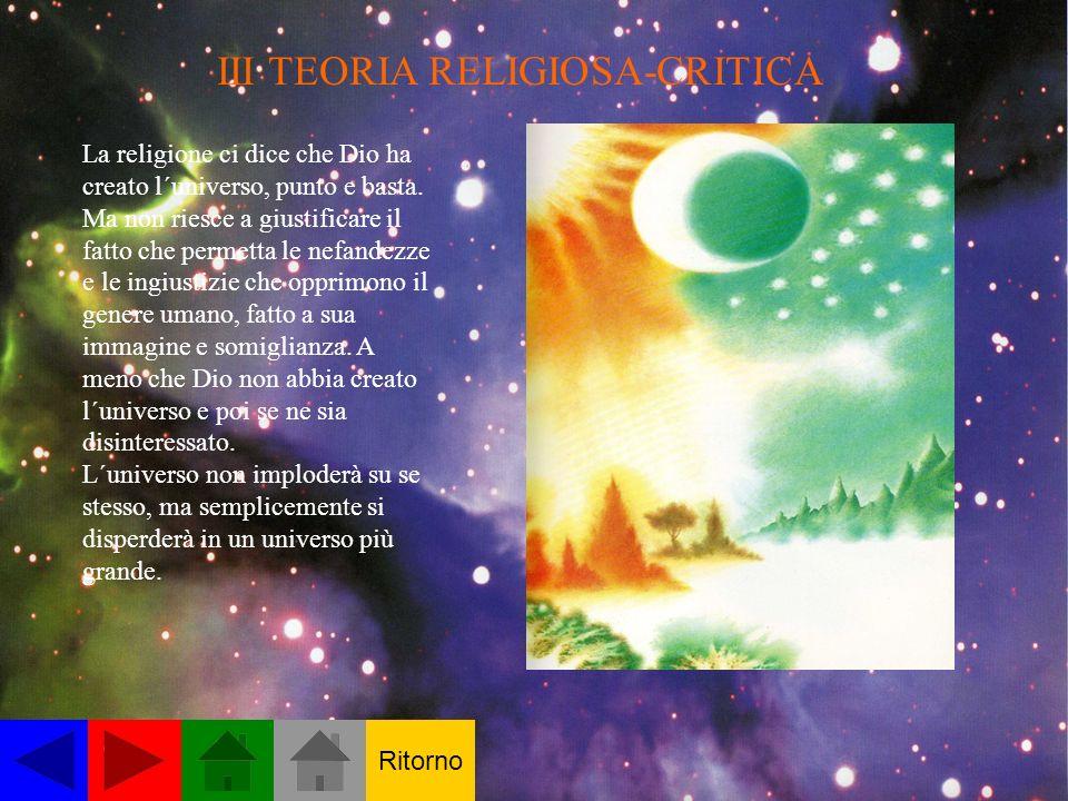 III TEORIA RELIGIOSA-CRITICA La religione ci dice che Dio ha creato l´universo, punto e basta.