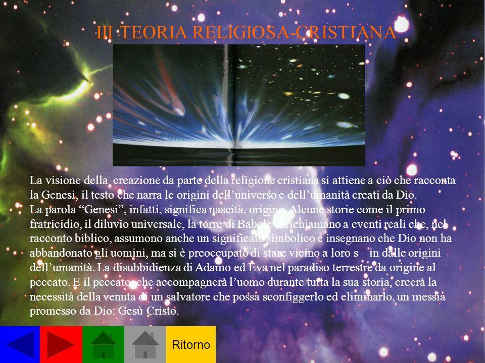 III TEORIA RELIGIOSA-CRISTIANA La visione della creazione da parte della religione cristiana si attiene a ciò che racconta la Genesi, il testo che narra le origini delluniverso e dellumanità creati da Dio.