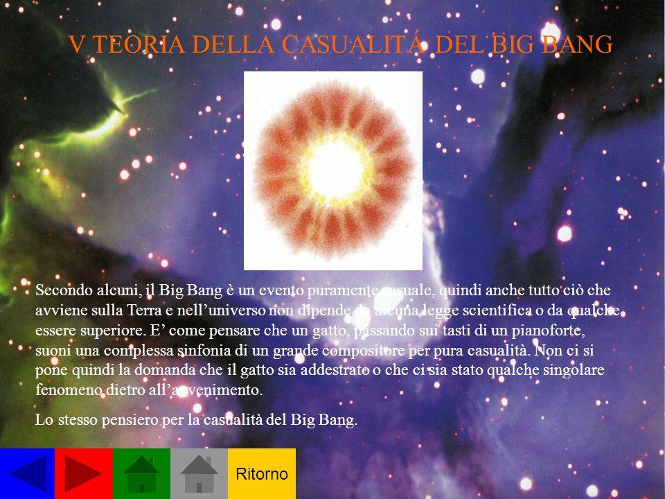 V TEORIA DELLA CASUALITÁ DEL BIG BANG Secondo alcuni, il Big Bang è un evento puramente casuale, quindi anche tutto ciò che avviene sulla Terra e nelluniverso non dipende da alcuna legge scientifica o da qualche essere superiore.