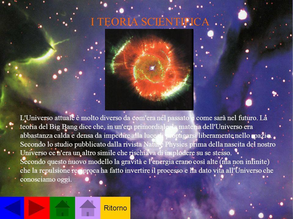 I TEORIA SCIENTIFICA L'Universo attuale è molto diverso da com'era nel passato e come sarà nel futuro. La teoria del Big Bang dice che, in un'era prim