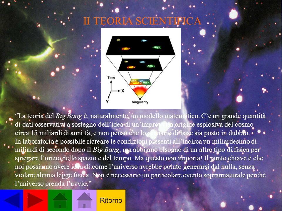 II TEORIA SCIENTIFICA La teoria del Big Bang è, naturalmente, un modello matematico. Ce un grande quantità di dati osservativi a sostegno dellidea di