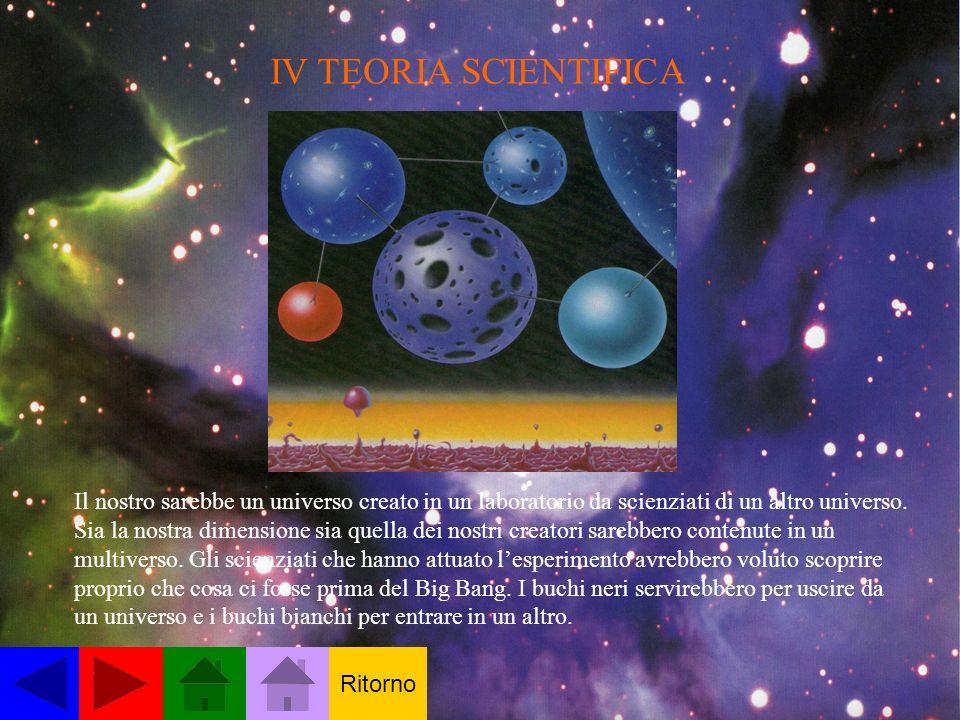 IV TEORIA SCIENTIFICA Il nostro sarebbe un universo creato in un laboratorio da scienziati di un altro universo. Sia la nostra dimensione sia quella d