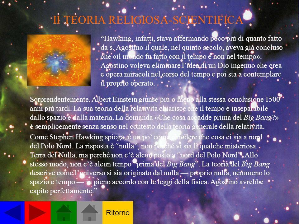 II TEORIA RELIGIOSA-SCIENTIFICA Hawking, infatti, stava affermando poco più di quanto fatto da s. Agostino il quale, nel quinto secolo, aveva già conc