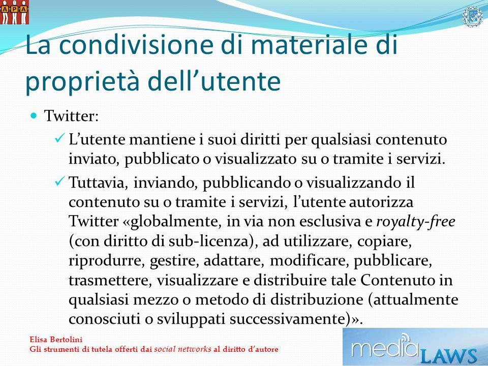 La condivisione di materiale di proprietà dellutente Twitter: Lutente mantiene i suoi diritti per qualsiasi contenuto inviato, pubblicato o visualizzato su o tramite i servizi.