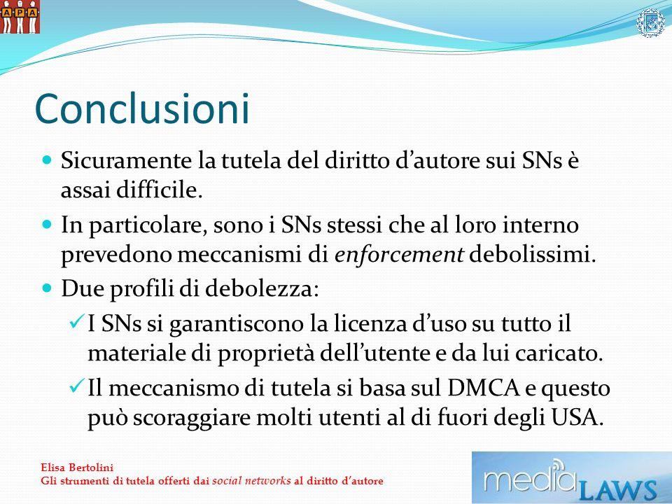 Conclusioni Sicuramente la tutela del diritto dautore sui SNs è assai difficile.