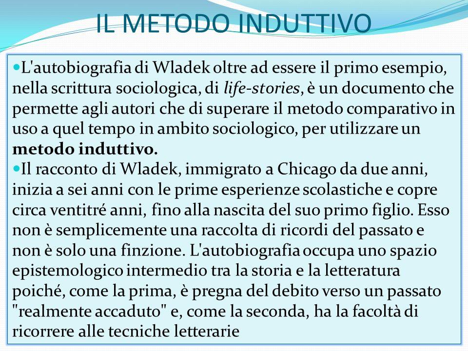 IL METODO INDUTTIVO L'autobiografia di Wladek oltre ad essere il primo esempio, nella scrittura sociologica, di life-stories, è un documento che perme