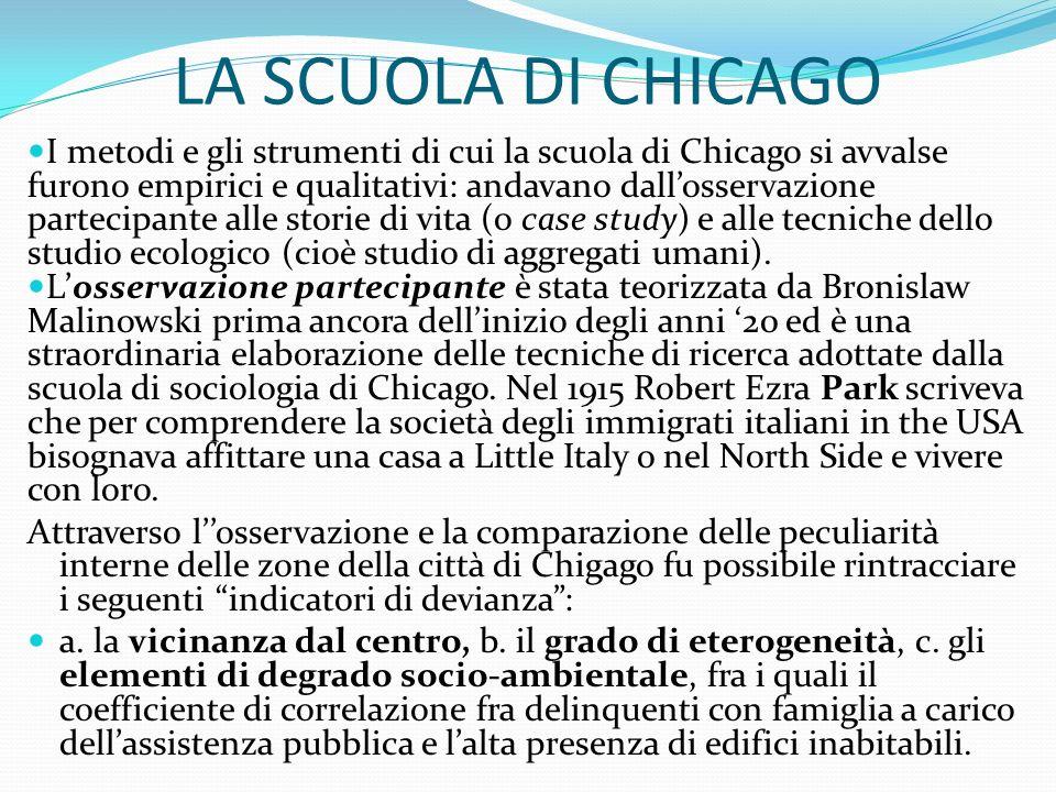 LA SCUOLA DI CHICAGO I metodi e gli strumenti di cui la scuola di Chicago si avvalse furono empirici e qualitativi: andavano dallosservazione partecip
