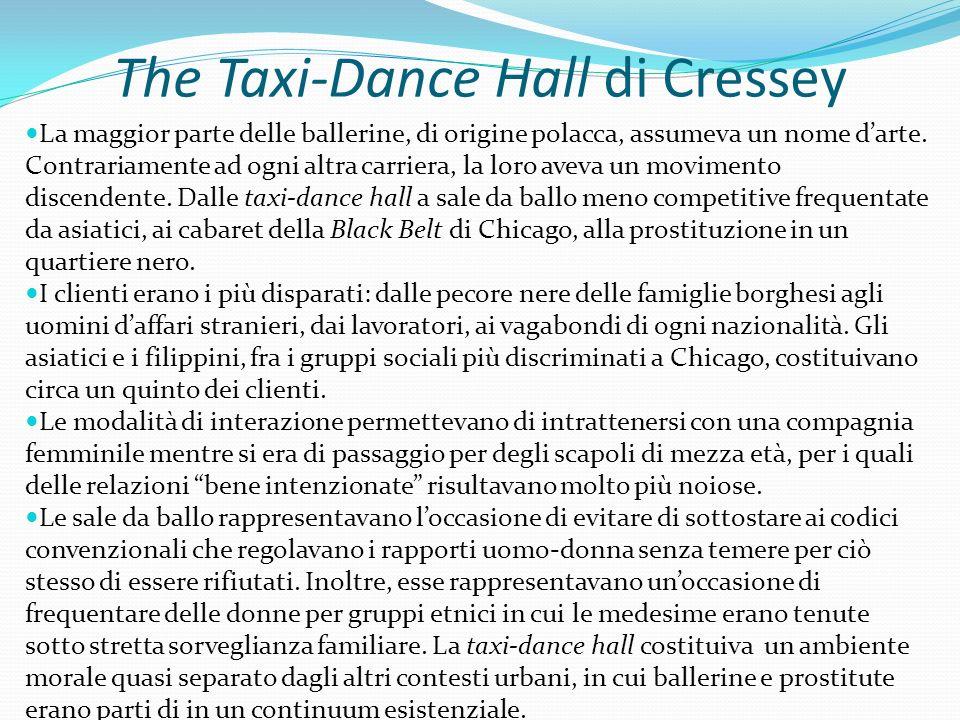 The Taxi-Dance Hall di Cressey La maggior parte delle ballerine, di origine polacca, assumeva un nome darte. Contrariamente ad ogni altra carriera, la