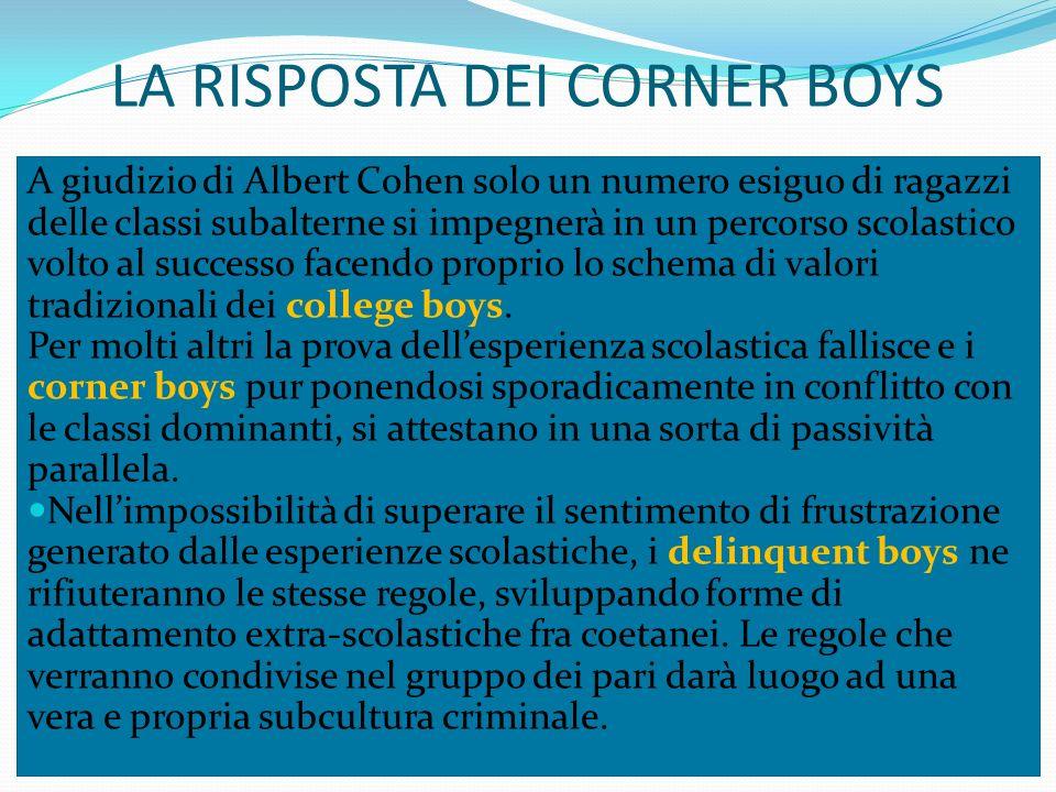 LA RISPOSTA DEI CORNER BOYS A giudizio di Albert Cohen solo un numero esiguo di ragazzi delle classi subalterne si impegnerà in un percorso scolastico