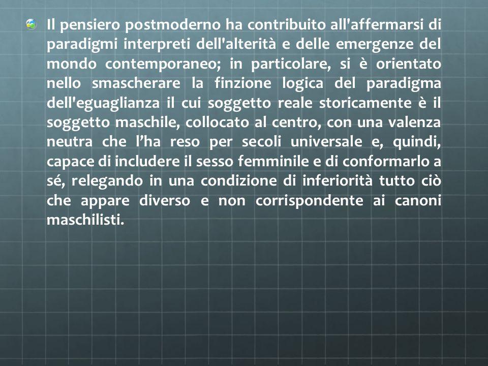 Il pensiero postmoderno ha contribuito all'affermarsi di paradigmi interpreti dell'alterità e delle emergenze del mondo contemporaneo; in particolare,