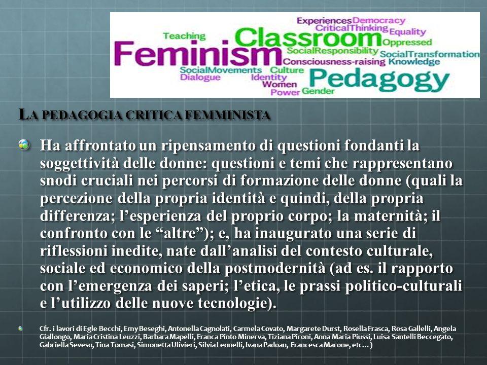 L A PEDAGOGIA CRITICA FEMMINISTA Ha affrontato un ripensamento di questioni fondanti la soggettività delle donne: questioni e temi che rappresentano s