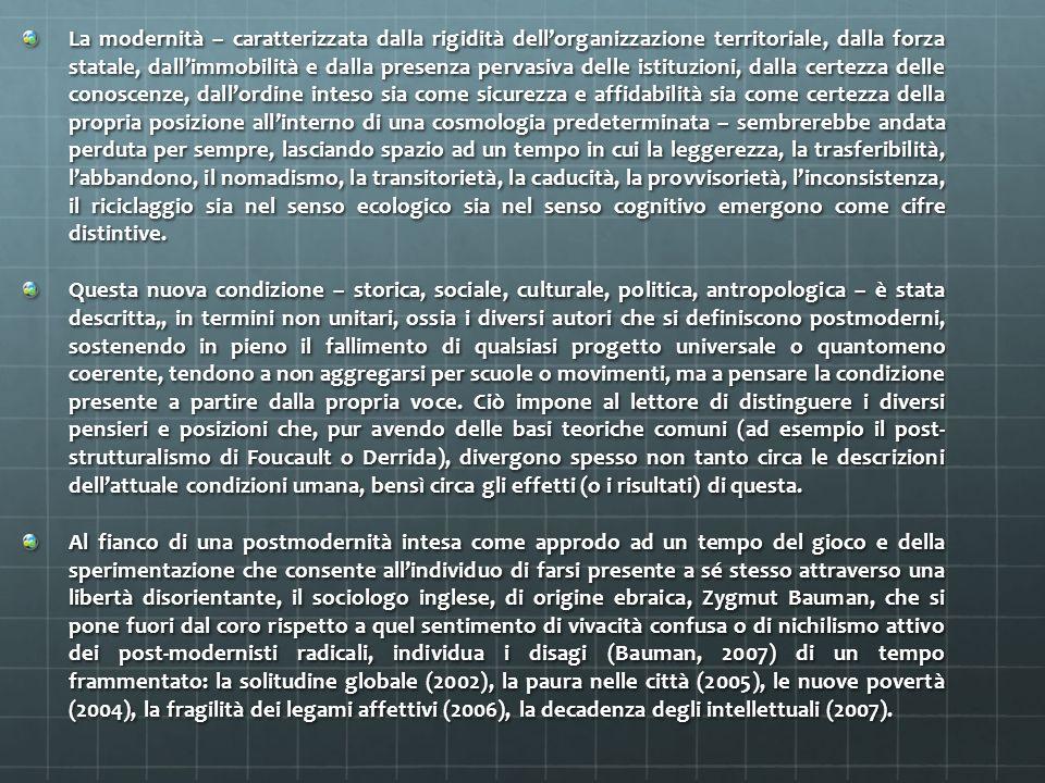 La modernità – caratterizzata dalla rigidità dellorganizzazione territoriale, dalla forza statale, dallimmobilità e dalla presenza pervasiva delle ist