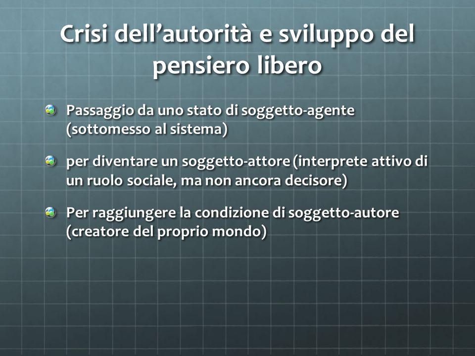 Crisi dellautorità e sviluppo del pensiero libero Passaggio da uno stato di soggetto-agente (sottomesso al sistema) per diventare un soggetto-attore (