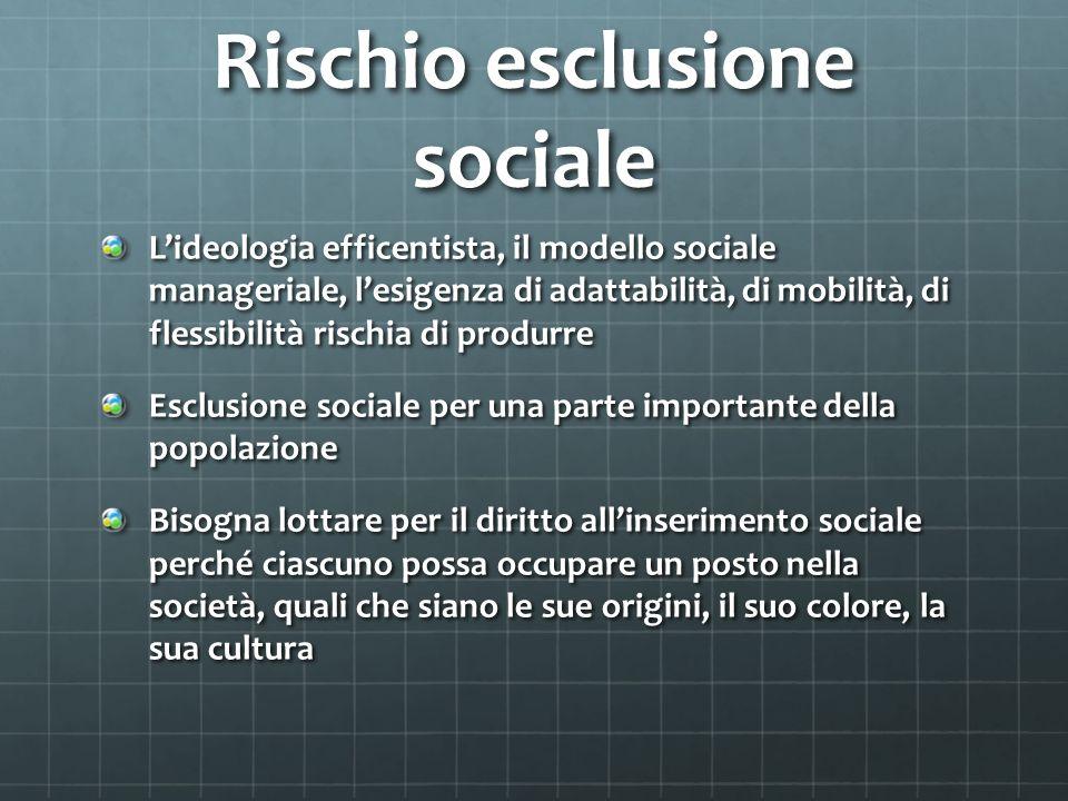 Rischio esclusione sociale Lideologia efficentista, il modello sociale manageriale, lesigenza di adattabilità, di mobilità, di flessibilità rischia di