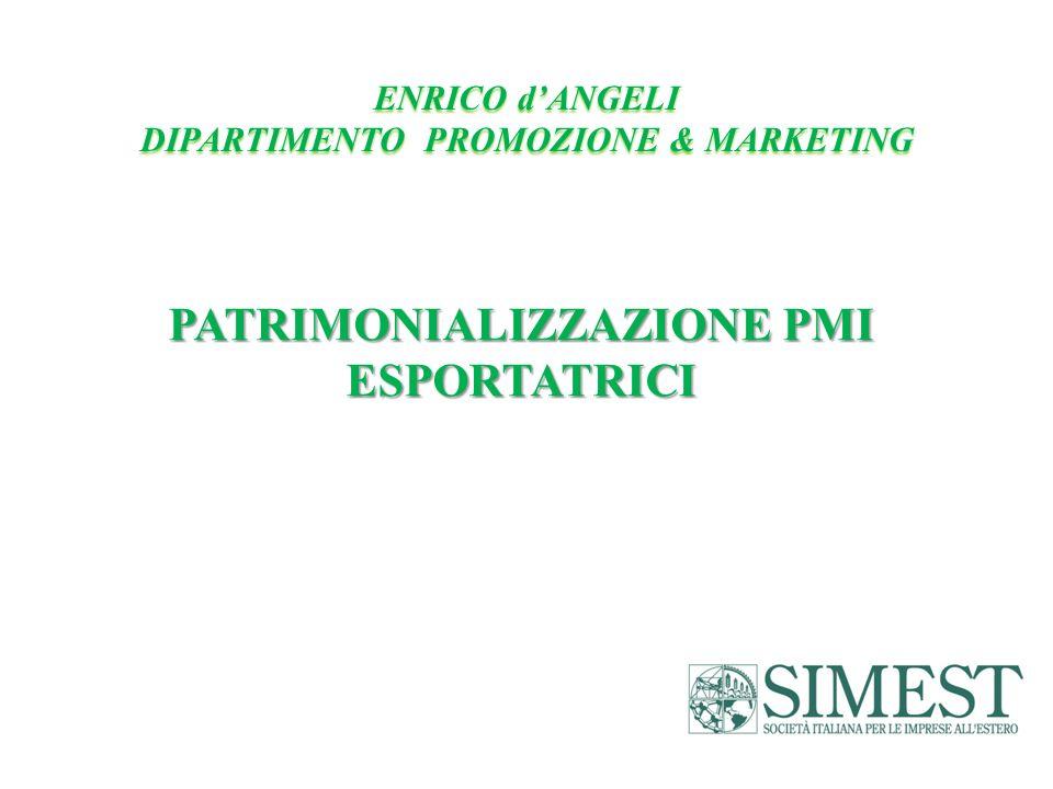 PATRIMONIALIZZAZIONE PMI ESPORTATRICI ENRICO dANGELI DIPARTIMENTO PROMOZIONE & MARKETING