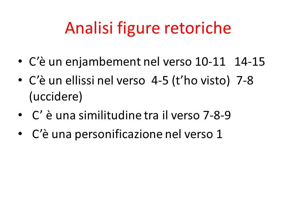 Analisi figure retoriche Cè un enjambement nel verso 10-11 14-15 Cè un ellissi nel verso 4-5 (tho visto) 7-8 (uccidere) C è una similitudine tra il ve
